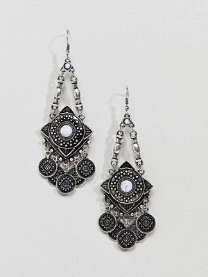 ASOS örhängen DESIGN Engraved Shape And Coin Stone Drop Earrings - Burnished silver