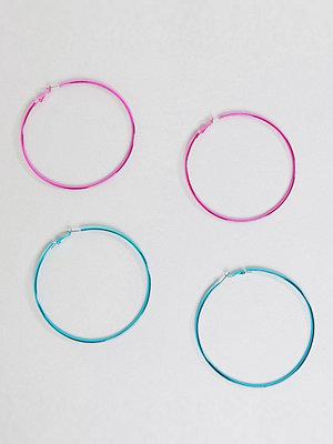 ASOS örhängen DESIGN Pack Of 2 90Mm Colour Plate Hoop Earrings