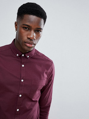 ASOS DESIGN Casual Skinny Oxford In Burgundy - Burgundy