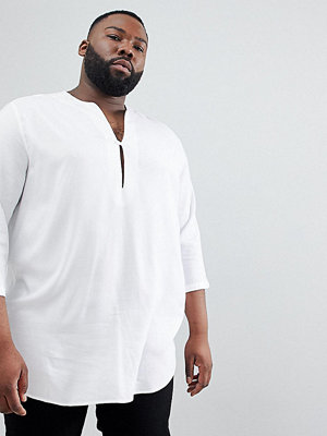 ASOS DESIGN Plus Regular Fit Longline Viscose Shirt In White With V Neck