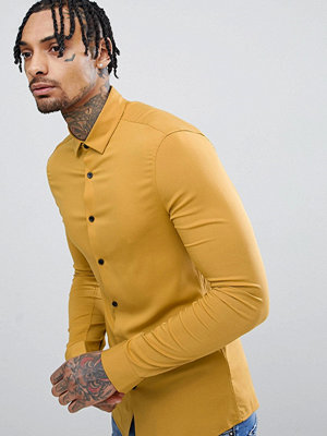 ASOS DESIGN Skinny Viscose Shirt In Mustard - Mustard