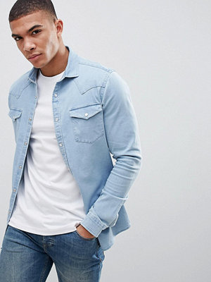 ASOS DESIGN Skinny Denim Western Shirt In Bleach Wash - Bleach wash