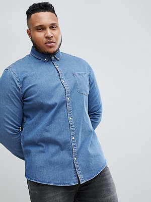 ASOS DESIGN Plus Stretch Slim Denim Shirt In Mid Wash - Mid wash