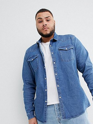 ASOS DESIGN Plus Stretch Slim Denim Western Shirt In Mid Wash - Mid wash