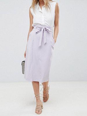 ASOS DESIGN tailored pencil skirt with obi tie - Lilac