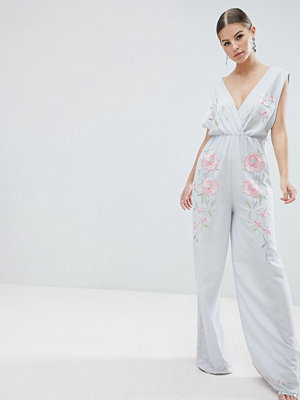 ASOS DESIGN Jumpsuit With Wide Leg And Embroidery - Light blue
