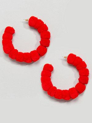ASOS örhängen DESIGN Colour Block Pom Pom Hoop Earrings
