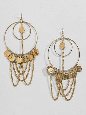 ASOS örhängen DESIGN Statement Draping Chain And Coin Hoop Earrings