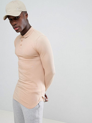 ASOS DESIGN longline muscle polo with bound curved hem in beige - Bread