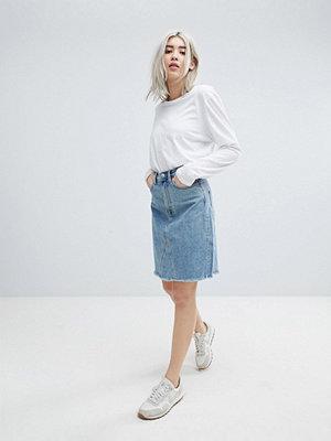 Weekday Decon Knee Length Denim Skirt with Raw Hem - Spring blue