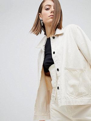 Weekday Limited Edition Denim Coach Jacket - Ecru