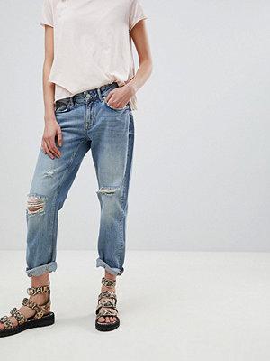 AllSaints Slouchy Distressed Boyfriend Jeans - Light indigo blue