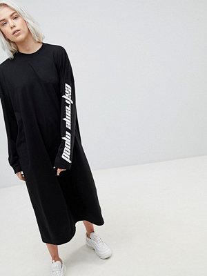 Weekday Open Back Dress with Slogan Sleeve