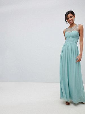 Little Mistress embellished top maxi dress in sage - Sage