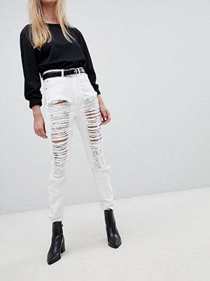 Jeans - Dr. Denim Nora Mom-jeans med super hög medja och revor White destroyed