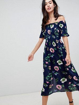 Brave Soul Lavender Off Shoulder Midi Dress in Floral Print
