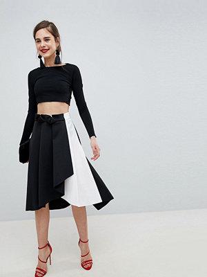 ASOS DESIGN scuba prom skirt with wrap in mono colourblock - Black / white