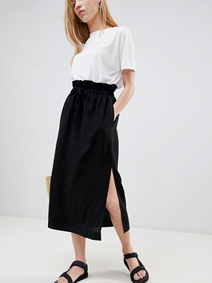 ASOS DESIGN easy midi skirt with paperbag tie waist