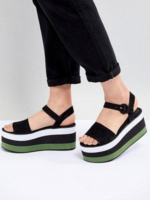 Pull&Bear flatform sandal in colourblock