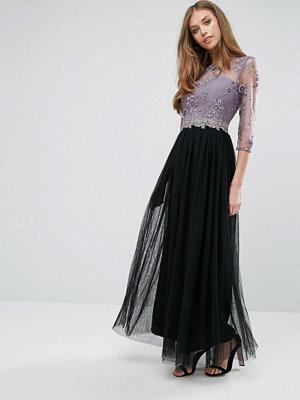 Little Mistress Sequin Lace Maxi Dress - Black/mink