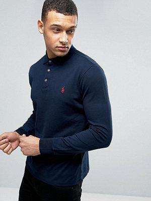 Polo Ralph Lauren Long Sleeve Polo Slim Stretch Mesh in Navy - Aviator navy