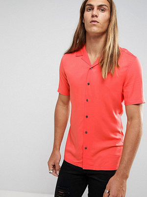 ASOS Skinny Viscose Shirt With Revere Collar In Coral - Hot coral
