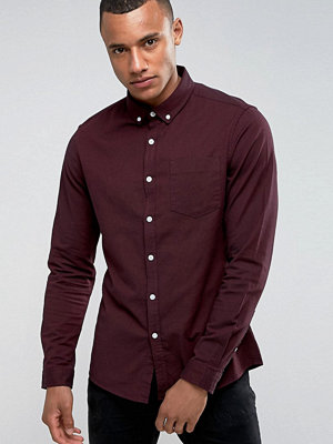 ASOS Casual Stretch Slim Oxford Shirt In Burgundy - Burgundy