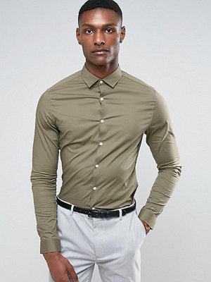 ASOS TALL Skinny Shirt In Light Khaki - Khaki
