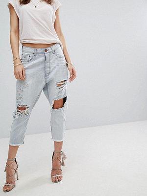 One Teaspoon Kingpins Low Waist Drop Crotch Straight Leg Jean with Rips - Hamptons