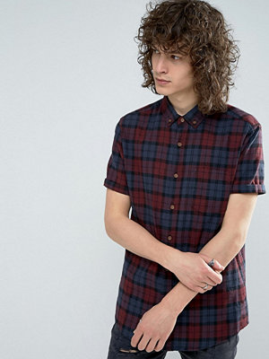 ASOS Regular Fit Linen Mix Check Shirt In Red - Burgundy