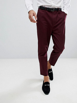 ASOS Tapered Smart Trousers In Burgundy - Burgundy