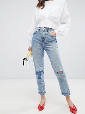 ASOS DESIGN Recycled Ritson rigid mom jeans in divinity rich mid blue wash - Rich mid wash