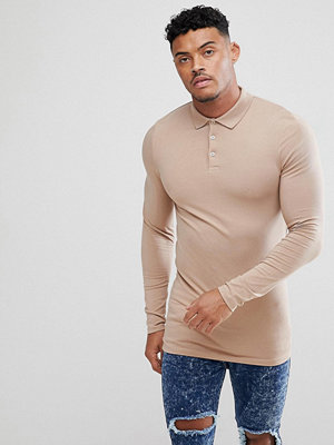 ASOS DESIGN longline muscle fit long sleeve polo - Taupe gray
