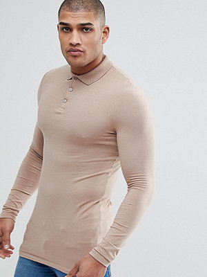 ASOS TALL Longline Muscle Fit Long Sleeve Polo In Jersey - Taupe gray