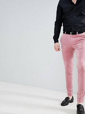 ASOS DESIGN Super Skinny Smart Trousers In Dusky Pink Velvet