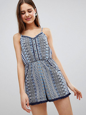 Brave Soul Pip Printed Playsuit with Tassel Trim