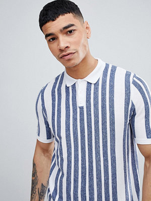 ASOS DESIGN Knitted Muscle Fit Polo With Vertical Stripe In Blue And White - Multi