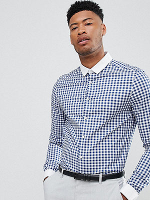 ASOS TALL smart stretch slim shirt with contrast collar and double cuffs