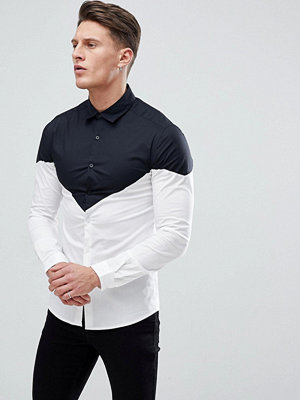 ASOS skinny shirt with chevron blocking