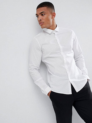 ASOS DESIGN smart stretch slim ditsy shirt