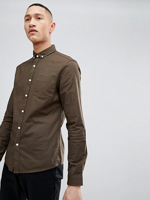 ASOS DESIGN Casual Slim Fit Oxford In Khaki - Khaki