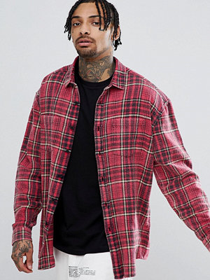 ASOS DESIGN oversized check shirt with acid wash