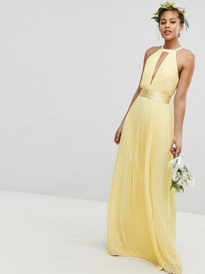TFNC Tall Pleated Maxi Bridesmaid Dress with Cross Back and Bow Detail - Pastel yellow