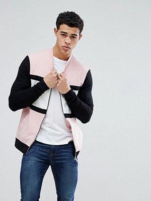 Bomberjackor - ASOS DESIGN Muscle Jersey Bomber Jacket In Pink With Colour Blocking - Sugar rush