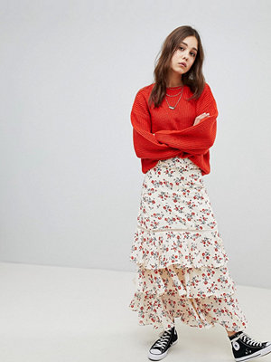 Glamorous Maxi Skirt With Ruffle Tiers In Floral - Cream red floral