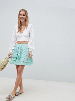 ASOS DESIGN mini skater skirt in heart broderie with frills - Mint