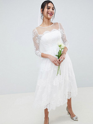 ASOS Edition Lace Long Sleeve Midi Prom Wedding Dress