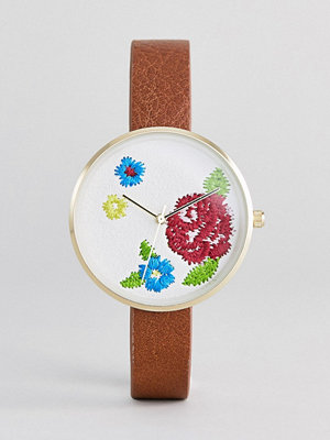 ASOS DESIGN Embroidered Face Watch