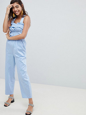 ASOS DESIGN Ruched Waist Jumpsuit With Top Stitch Detail