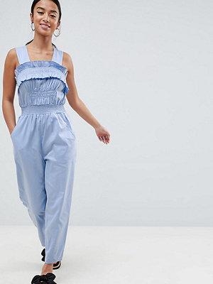 ASOS Petite ASOS DESIGN Petite Ruched Waist Jumpsuit With Top Stitch Detail